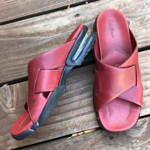 Cole Haan Red Leather Slip Ons With Nike Air